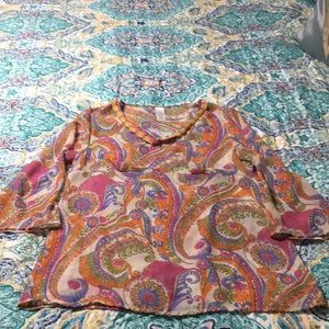 Tops - Sheer 3/4 sleeve popover blouse paisley L